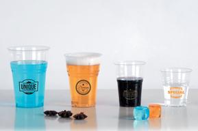 Esempi di bicchieri in bioplastica personalizzati in tampografia monocromatica
